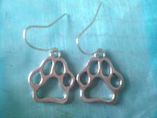Silver Plated Tibetan Animal Bear Dog Cat Paw Prints Paws Earrings Free Shipping