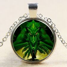 Vintage dragon Cabochon Tibetan silver Glass Chain Pendant Necklace #115