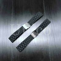 20 22 24 MM Black Silicone Rubber Watch Band Strap Deployment Clasp Buckle USA