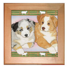 "Australian Shepherd Aussie Dog Kitchen Ceramic Trivet Framed in Pine 8"" x 8"""