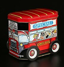 LONDON BUS TIN SPECIAL OMNIBUS OXFORD ST. CONTAINER ON MOVING WHEELS