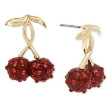Betsey Johnson Retro Glam Cherries Stud Earring Pave Crystals Red & Gold S1