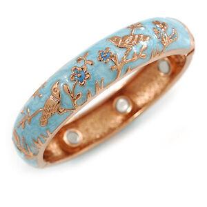 Light Blue Enamel Bird and Flower Copper Magnetic Hinged Bangle Bracelet with