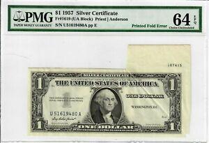 1957 $1 Silver Certificate Fr. 1619 Massive Gutter Fold Error PMG 64 EPQ UNC