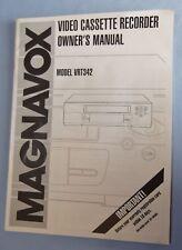 Vintage Magnavox Video Cassette Recorder Model VRT342 Owner's Manual
