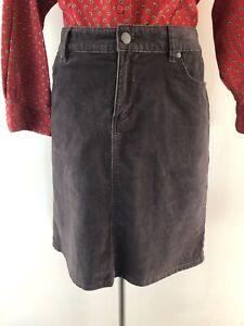 Colorado Corduroy Skirt Sz 12 Chocolate Brown Pockets EUC