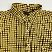 Enyce Button Up Shirt Men's Size 3XL XXXL Short Sleeve Yellow Seersucker Cotton