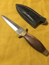 Vintage Stainless Pakistan dagger brass and wood handle leather sheath