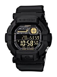 Casio G-Shock Mens Watch GD350-1B GD-350-1BDR Vibration Alarm Digital Black