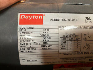 M2 DAYTON MOTOR 4K855AA 1/2 HP 1 PH 115/208-230 1726 RPM USED FREE SHIPPING