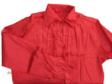 70s Satin Disco Shirt Ruffle Mens 1970s Fancy Dress 42 - 44 in Chest Red