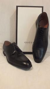 NIB AUTH GUCCI Men Black Leather Oxford WEB shoes Lace up IT 14.5  15.5 US Bonus