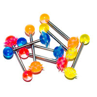 """Details about  /14g 5//8/"""" Soft Silicone Neon Removable French Tickler Koosh Tongue Barbell Blue"""