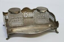 Antique 1908 STERLING SILVER Galleried Inkstand Glass Bottles Sheffield - 215
