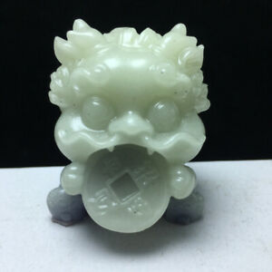 Chinese PURPLE Luminous Stone Hand-carved Exquisite Cartoon dragon Statues 83g47