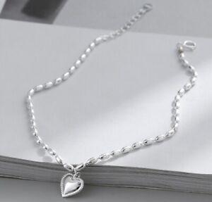 """Women 925 Sterling Silver Silver Heart Bead Chain Anklet Bracelet 7.5-9.4"""""""