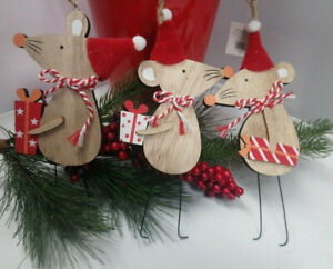 Christmas Xmas Tree Hanging DecoartionFestive Mouse Mice Scandi Nordic Style