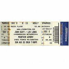 JOHN HIATT & LOS LOBOS Concert Ticket Stub SARATOGA CA 8/22/10 MOUNTAIN WINERY