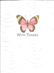 Pink & Yellow Butterfly Thank You Note Cards Blank Inside  By American Greetings
