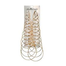 12Pairs / Set Pendientes de aro de anillo grande de metal de gran anillo