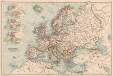 L'europe. incrusté dans le temps de charlemagne, charles v (16C) & napoléon carte de 1891