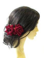2 x Deep Red Rose Flower Burgundy Hair Pins Vintage Rockabilly Clip Bridal 1507