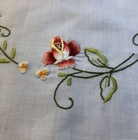 Vintage Placemats & Napkins Hand Embroidered Flowers Needlepoint SET OF 6 Linens