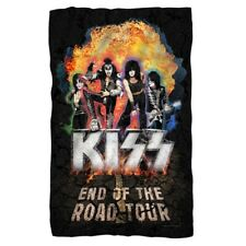 New 36x58 KISS End of the Road Band Fleece Throw Gift Blanket Final Tour Flames