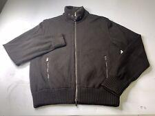 Ermenegildo Zegna Sport Full Zip Brown Knit Sweater Jacket Lined Men's Large
