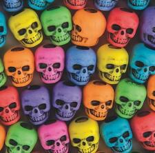 "20 Plastic Colorful Skull Beads Goth 3/8"" Cool Halloween Craft Purple Pink Green"