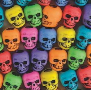 """20 Plastic Colorful Skull Beads Goth 3/8"""" Cool Halloween Craft Purple Pink Green"""