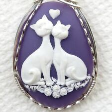 Love Cats Cameo Pendant .925 Sterling Silver Jewelry Purple Resin