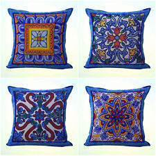 US Seller- 4pcs cushion covers Mexican Spanish talavera cool decorative pillows