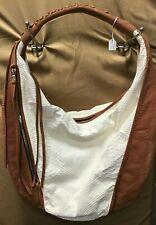 Susie O's Designer Brown & Cream Fringe Zipper Closure Hobo Bag