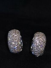 Stunning Solid 18ct White Gold Heavy 1/2ct Diamond Huggy Earrings 5.5g