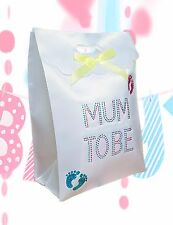 Mum To Be Unisex Gift Present BAG with Diamante Lettering Blue & Pink Footprints