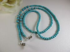 GENUINE TURQUOISE with Tibet Silver Spacers Beaded Eyeglass Chain Made in USA
