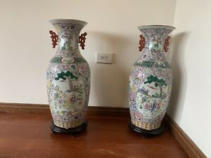 A Pair Of antique Hand- Painted china porcelain Vases