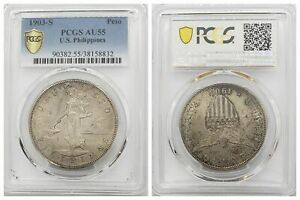 PCGS US Philippines 1903 S Peso Silver Coin Nice Lustre AU55 Scarce Date