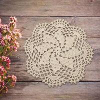 4Pcs 100% Cotton Round Hand Crochet Doilies Table Mats Lace Applique 8 inch