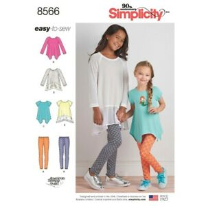 NEW Simplicity Pattern 8566 Child's And Girls' Tunics And Leggings By Spotlight