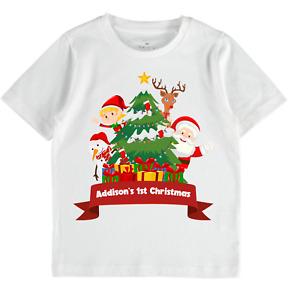 Christmas personalised T-Shirt Kids Toddlers Boys Girl tops family santa babies
