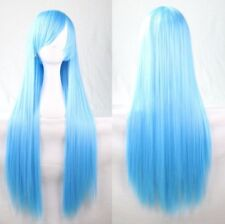 Sky Blue 80cm Women Long Straight Hair Wig Fashion Costume Party Anime Cosplay