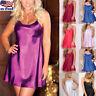 Women Satin Silk Lace Robe Dress Sleepwear Lingerie Nightdress Nightgown Chemise