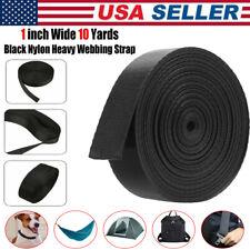 1 Inch Wide 10 Yards Black Nylon Heavy Webbing Strap Free Shipping USA