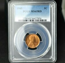 1945 Lincoln Wheat Cent~Graded MS65RD by PCGS~Combined Shipping~!
