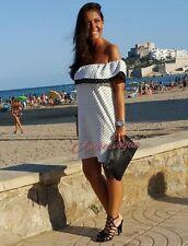 Zara off White Polka Dots off The Shoulder Frill Dress Size S 8