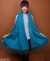 New Women's Fashion Blue 100% Cashmere Pashmina Soft Warm Wrap Shawl Scarf