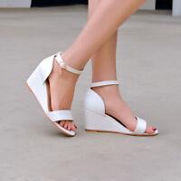 Womens Buckle Wedge High Heels Sandals Peep Toe Solid Summer Beach Shoes Comfy