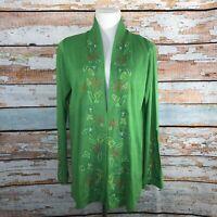 Diane Von Furstenberg Silk Assest Open Front Cardigan GREEN Large